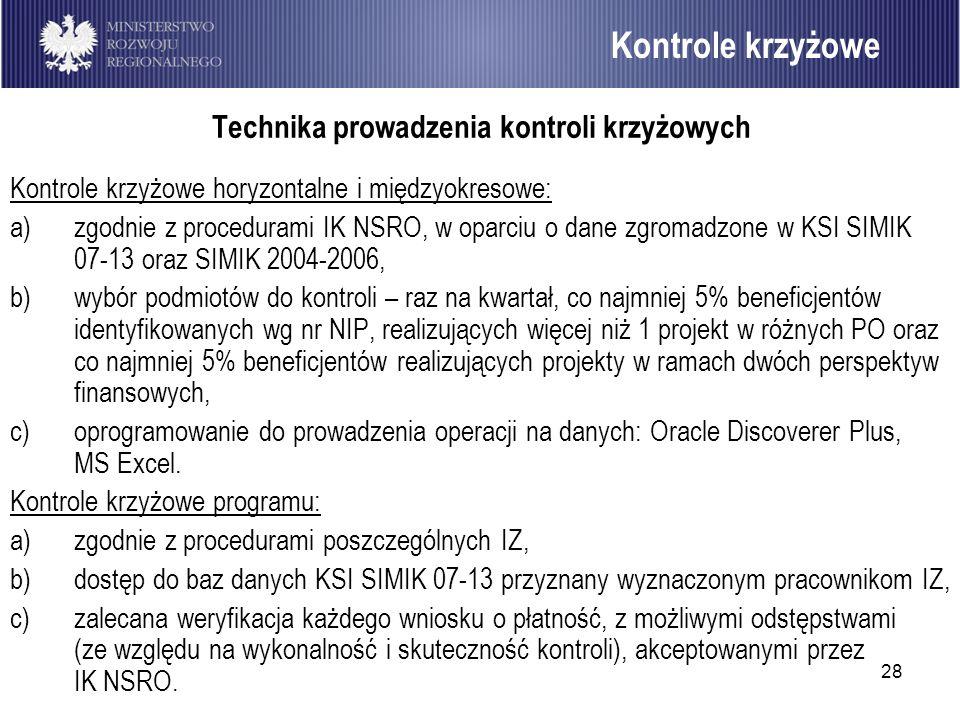 28 Kontrole krzyżowe Technika prowadzenia kontroli krzyżowych Kontrole krzyżowe horyzontalne i międzyokresowe: a)zgodnie z procedurami IK NSRO, w opar