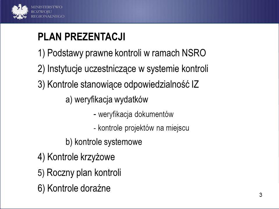 3 PLAN PREZENTACJI 1) Podstawy prawne kontroli w ramach NSRO 2) Instytucje uczestniczące w systemie kontroli 3) Kontrole stanowiące odpowiedzialność I