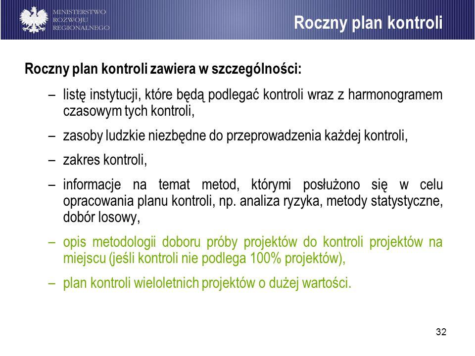 32 Roczny plan kontroli zawiera w szczególności: –listę instytucji, które będą podlegać kontroli wraz z harmonogramem czasowym tych kontroli, –zasoby