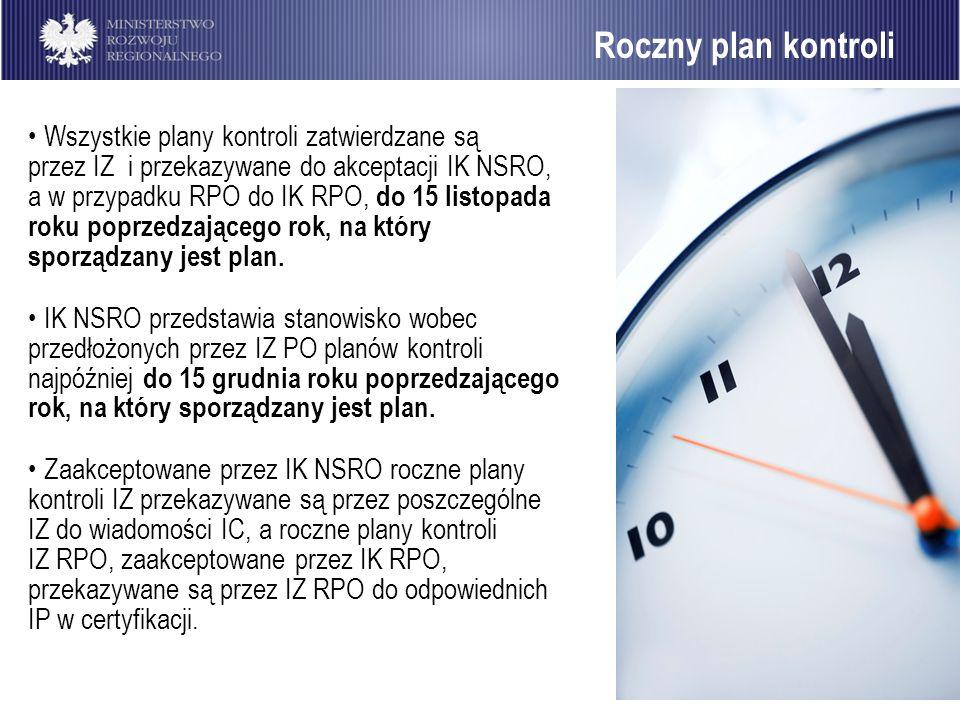 34 Roczny plan kontroli Wszystkie plany kontroli zatwierdzane są przez IZ i przekazywane do akceptacji IK NSRO, a w przypadku RPO do IK RPO, do 15 lis