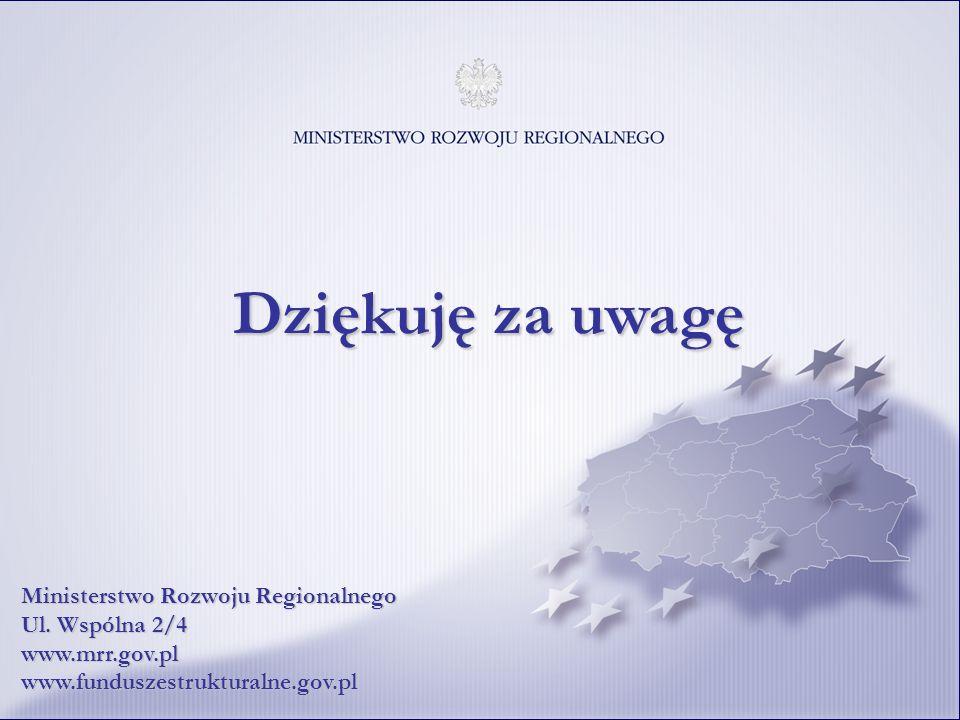 36 Dziękuję za uwagę Ministerstwo Rozwoju Regionalnego Ul. Wspólna 2/4 www.mrr.gov.pl www.funduszestrukturalne.gov.pl
