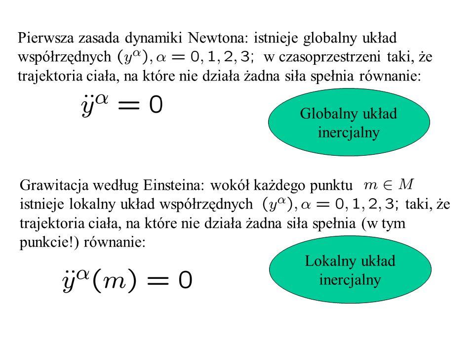 Pierwsza zasada dynamiki Newtona: istnieje globalny układ współrzędnych w czasoprzestrzeni taki, że trajektoria ciała, na które nie działa żadna siła