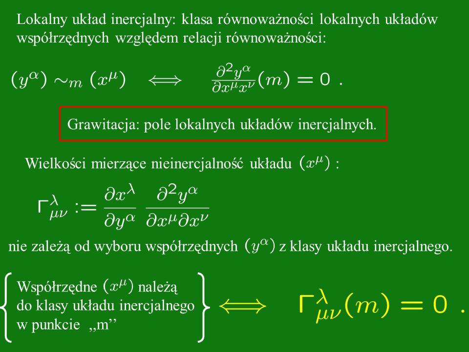 Wielkości mierzące nieinercjalność układu : nie zależą od wyboru współrzędnych z klasy układu inercjalnego. Współrzędne należą do klasy układu inercja