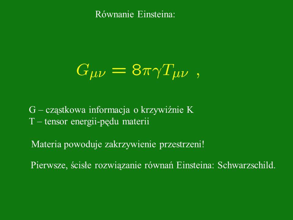 Równanie Einsteina: G – cząstkowa informacja o krzywiźnie K T – tensor energii-pędu materii Materia powoduje zakrzywienie przestrzeni! Pierwsze, ścisł
