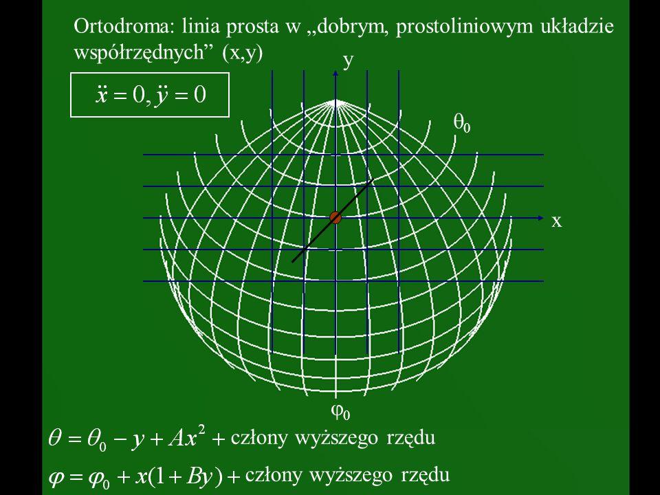 Ortodroma: linia prosta w dobrym, prostoliniowym układzie współrzędnych (x,y) człony wyższego rzędu x y