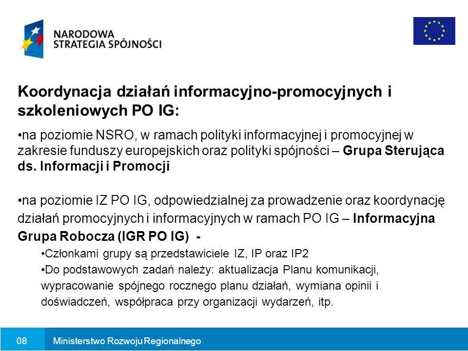 07Ministerstwo Rozwoju Regionalnego Indykatywny budżet 36,5 mln euro w ramach działania 9.3 Informacja i promocja (Pomoc techniczna PO IG)