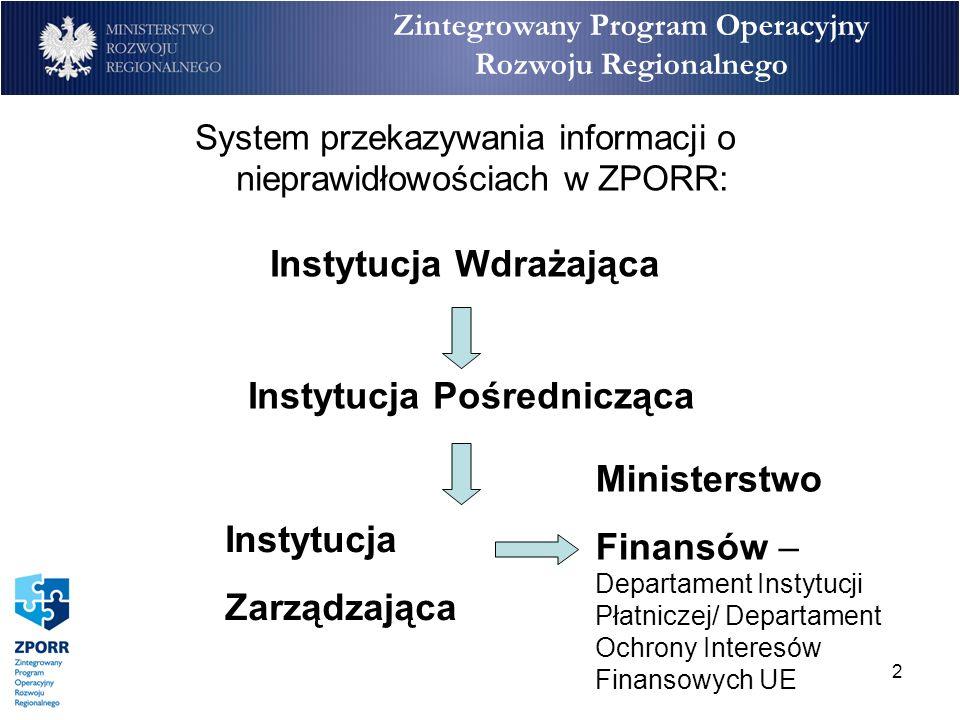 2 Zintegrowany Program Operacyjny Rozwoju Regionalnego System przekazywania informacji o nieprawidłowościach w ZPORR: Instytucja Wdrażająca Instytucja Pośrednicząca Instytucja Zarządzająca Ministerstwo Finansów – Departament Instytucji Płatniczej/ Departament Ochrony Interesów Finansowych UE