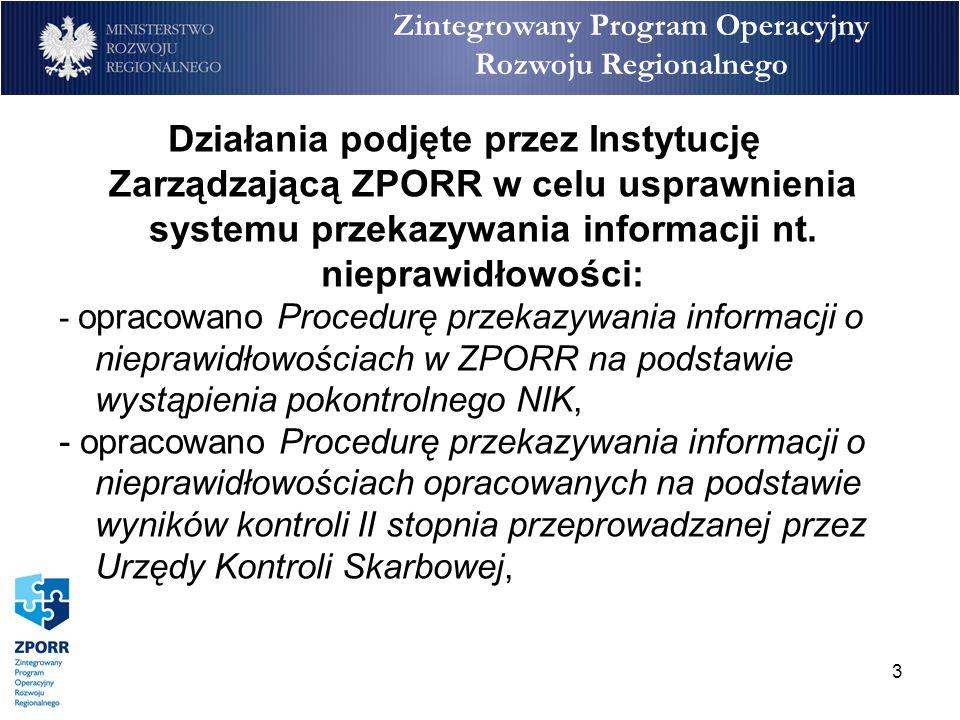 4 Zintegrowany Program Operacyjny Rozwoju Regionalnego -opracowano Procedurę postępowania w sprawach OLAF dot.