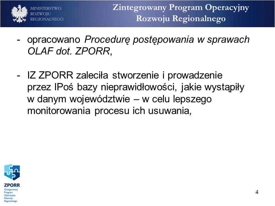 5 Zintegrowany Program Operacyjny Rozwoju Regionalnego -IPoś zostały zobowiązane do organizowania spotkań z IW w każdym województwie na temat nieprawidłowości oraz przekazywania protokołów z tych spotkań do IZ ZPORR, -IZ ZPORR pomiędzy okresami raportowania o nieprawidłowościach wysyła pisma do IPoś/IW z zaleceniami oraz uwagami co do prawidłowego raportowania o nieprawidłowościach.