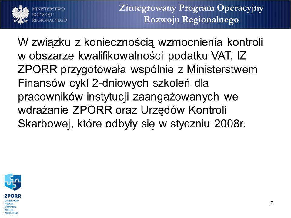 9 Ilość nieprawidłowości od I kwartału 2007r. do II kwartału 2008r.