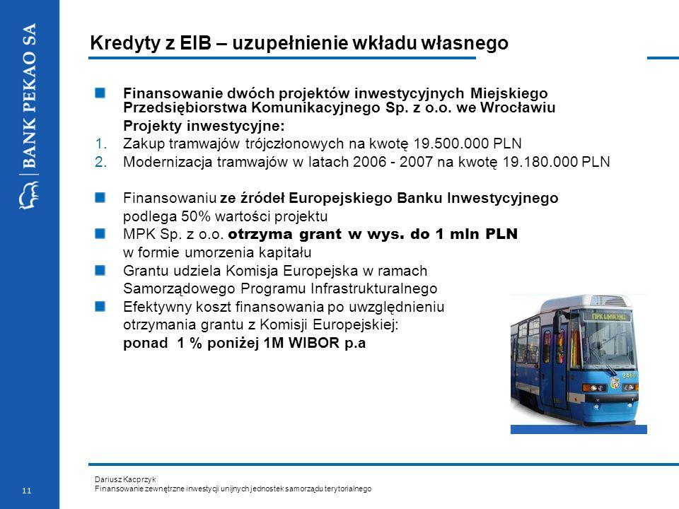 Dariusz Kacprzyk Finansowanie zewnętrzne inwestycji unijnych jednostek samorządu terytorialnego 11 Kredyty z EIB – uzupełnienie wkładu własnego Finans