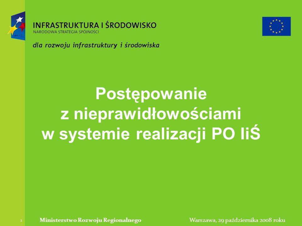 Warszawa, 29 października 2008 rokuMinisterstwo Rozwoju Regionalnego 1 dla rozwoju infrastruktury i środowiska Postępowanie z nieprawidłowościami w systemie realizacji PO IiŚ