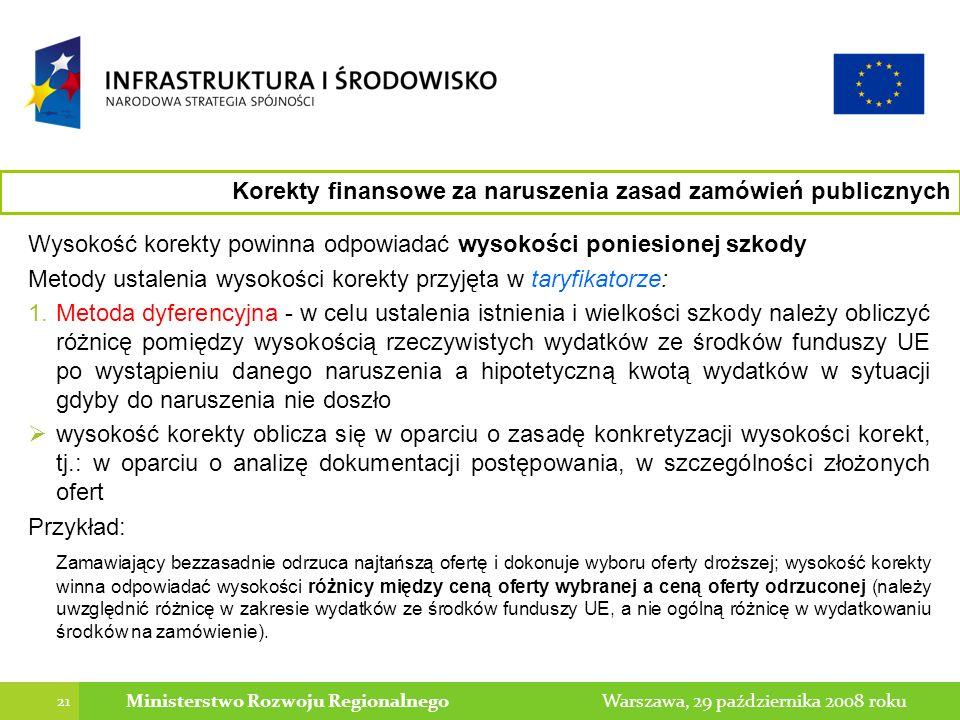 21 Warszawa, 29 października 2008 rokuMinisterstwo Rozwoju Regionalnego Korekty finansowe za naruszenia zasad zamówień publicznych Wysokość korekty powinna odpowiadać wysokości poniesionej szkody Metody ustalenia wysokości korekty przyjęta w taryfikatorze: 1.Metoda dyferencyjna - w celu ustalenia istnienia i wielkości szkody należy obliczyć różnicę pomiędzy wysokością rzeczywistych wydatków ze środków funduszy UE po wystąpieniu danego naruszenia a hipotetyczną kwotą wydatków w sytuacji gdyby do naruszenia nie doszło wysokość korekty oblicza się w oparciu o zasadę konkretyzacji wysokości korekt, tj.: w oparciu o analizę dokumentacji postępowania, w szczególności złożonych ofert Przykład: Zamawiający bezzasadnie odrzuca najtańszą ofertę i dokonuje wyboru oferty droższej; wysokość korekty winna odpowiadać wysokości różnicy między ceną oferty wybranej a ceną oferty odrzuconej (należy uwzględnić różnicę w zakresie wydatków ze środków funduszy UE, a nie ogólną różnicę w wydatkowaniu środków na zamówienie).