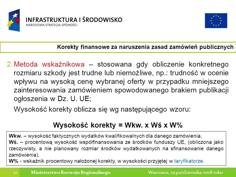 22 Warszawa, 29 października 2008 rokuMinisterstwo Rozwoju Regionalnego Korekty finansowe za naruszenia zasad zamówień publicznych 2.Metoda wskaźnikowa – stosowana gdy obliczenie konkretnego rozmiaru szkody jest trudne lub niemożliwe, np.: trudność w ocenie wpływu na wysoką cenę wybranej oferty w przypadku mniejszego zainteresowania zamówieniem spowodowanego brakiem publikacji ogłoszenia w Dz.
