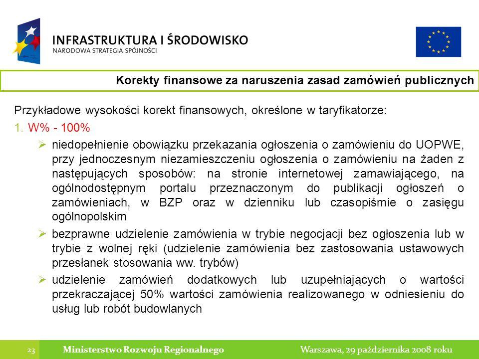 23 Warszawa, 29 października 2008 rokuMinisterstwo Rozwoju Regionalnego Przykładowe wysokości korekt finansowych, określone w taryfikatorze: 1.W% - 100% niedopełnienie obowiązku przekazania ogłoszenia o zamówieniu do UOPWE, przy jednoczesnym niezamieszczeniu ogłoszenia o zamówieniu na żaden z następujących sposobów: na stronie internetowej zamawiającego, na ogólnodostępnym portalu przeznaczonym do publikacji ogłoszeń o zamówieniach, w BZP oraz w dzienniku lub czasopiśmie o zasięgu ogólnopolskim bezprawne udzielenie zamówienia w trybie negocjacji bez ogłoszenia lub w trybie z wolnej ręki (udzielenie zamówienia bez zastosowania ustawowych przesłanek stosowania ww.