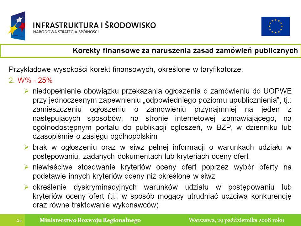 24 Warszawa, 29 października 2008 rokuMinisterstwo Rozwoju Regionalnego Przykładowe wysokości korekt finansowych, określone w taryfikatorze: 2.W% - 25% niedopełnienie obowiązku przekazania ogłoszenia o zamówieniu do UOPWE przy jednoczesnym zapewnieniu odpowiedniego poziomu upublicznienia, tj.: zamieszczeniu ogłoszeniu o zamówieniu przynajmniej na jeden z następujących sposobów: na stronie internetowej zamawiającego, na ogólnodostępnym portalu do publikacji ogłoszeń, w BZP, w dzienniku lub czasopiśmie o zasięgu ogólnopolskim brak w ogłoszeniu oraz w siwz pełnej informacji o warunkach udziału w postępowaniu, żądanych dokumentach lub kryteriach oceny ofert niewłaściwe stosowanie kryteriów oceny ofert poprzez wybór oferty na podstawie innych kryteriów oceny niż określone w siwz określenie dyskryminacyjnych warunków udziału w postępowaniu lub kryteriów oceny ofert (tj.: w sposób mogący utrudniać uczciwą konkurencję oraz równe traktowanie wykonawców) Korekty finansowe za naruszenia zasad zamówień publicznych