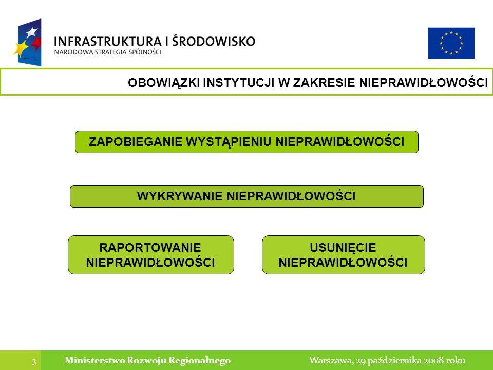 3 Warszawa, 29 października 2008 rokuMinisterstwo Rozwoju Regionalnego OBOWIĄZKI INSTYTUCJI W ZAKRESIE NIEPRAWIDŁOWOŚCI WYKRYWANIE NIEPRAWIDŁOWOŚCI ZAPOBIEGANIE WYSTĄPIENIU NIEPRAWIDŁOWOŚCI RAPORTOWANIE NIEPRAWIDŁOWOŚCI USUNIĘCIE NIEPRAWIDŁOWOŚCI