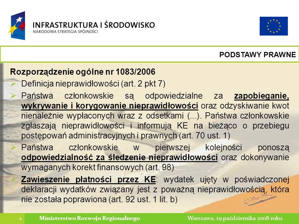 15 Warszawa, 29 października 2008 rokuMinisterstwo Rozwoju Regionalnego RAPORTOWANIE O NIEPRAWIDŁOWOŚCI Informowanie o działaniach następczych Raporty kwartalne odnoszą się również do działań następczych prowadzonych w związku z nieprawidłowościami zgłoszonymi w poprzednich kwartałach do KE Raporty te przesyłane są co kwartał do czasu zakończenia wszystkich postępowań prowadzonych w związku z daną nieprawidłowością Instytucje są zobowiązane informować o działaniach podjętych w celu usunięcia przedmiotowych nieprawidłowości oraz o sposobie rozliczenia/usunięcia nieprawidłowości (czy dany wydatek zostanie/został rozliczony na poziomie wniosku o płatność, czy dany wydatek zostanie/został odzyskany od beneficjenta)