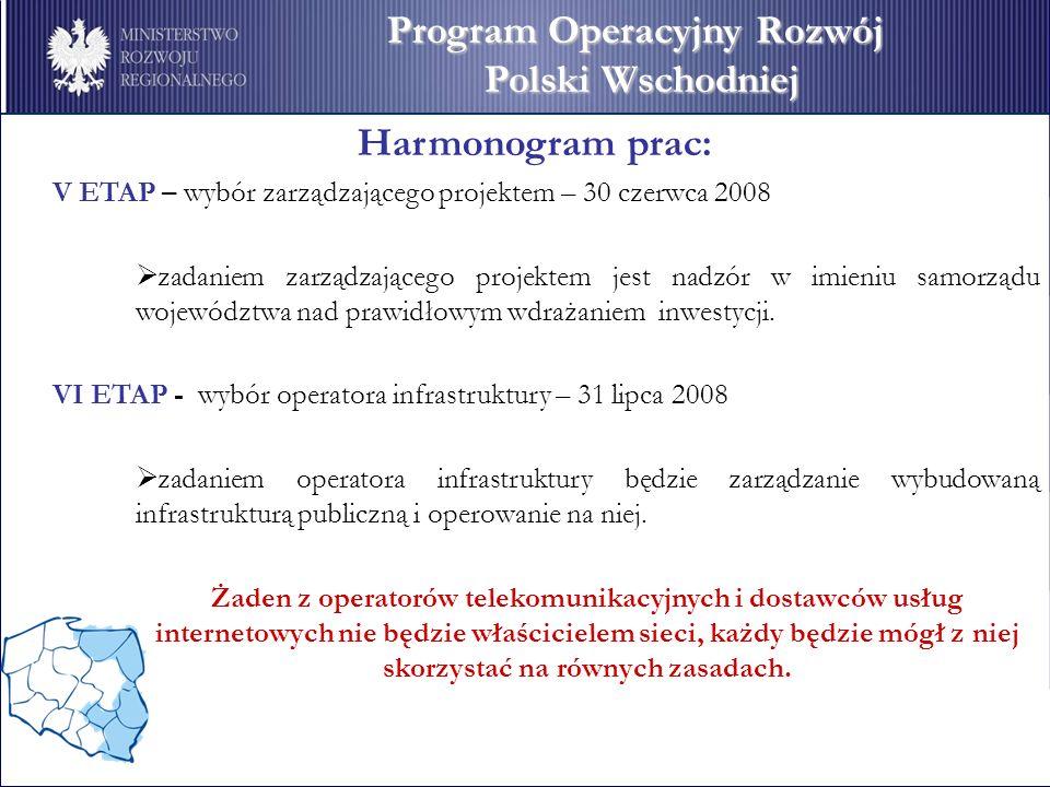 Harmonogram prac: V ETAP – wybór zarządzającego projektem – 30 czerwca 2008 zadaniem zarządzającego projektem jest nadzór w imieniu samorządu województwa nad prawidłowym wdrażaniem inwestycji.