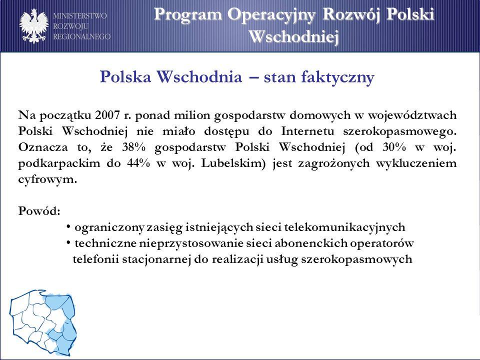Program Operacyjny Rozwój Polski Wschodniej Polska Wschodnia – stan faktyczny Na początku 2007 r.