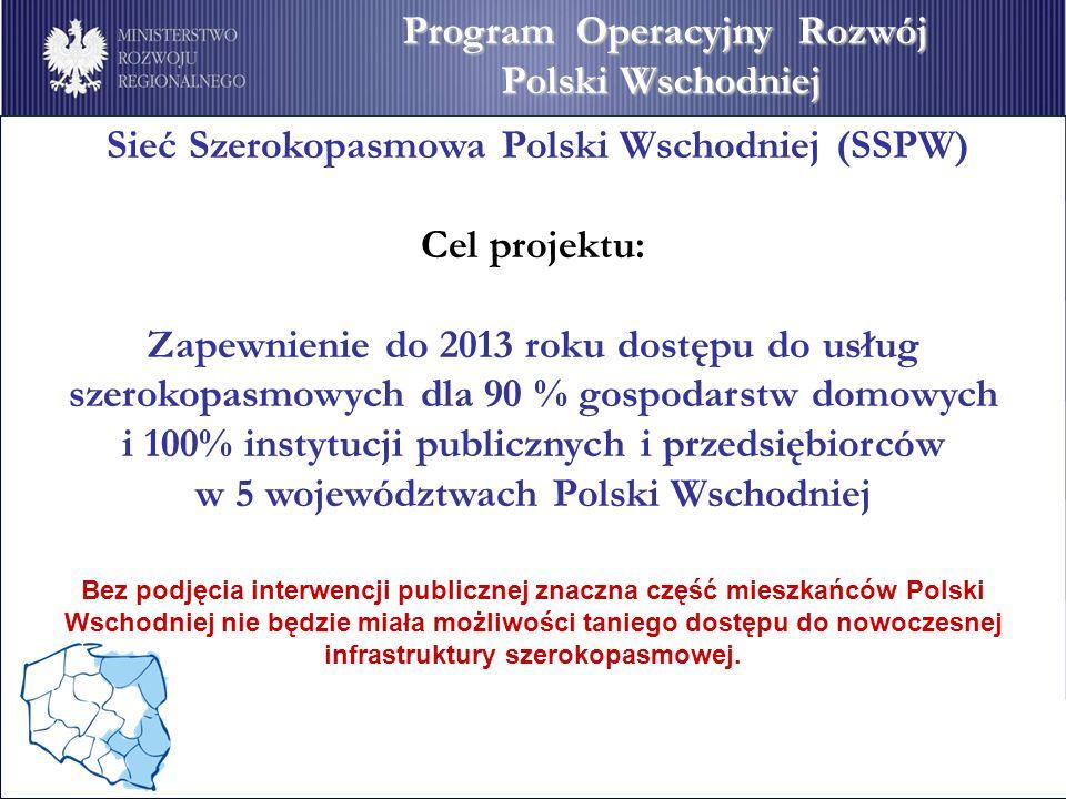 Sieć Szerokopasmowa Polski Wschodniej (SSPW) Cel projektu: Zapewnienie do 2013 roku dostępu do usług szerokopasmowych dla 90 % gospodarstw domowych i 100% instytucji publicznych i przedsiębiorców w 5 województwach Polski Wschodniej Bez podjęcia interwencji publicznej znaczna część mieszkańców Polski Wschodniej nie będzie miała możliwości taniego dostępu do nowoczesnej infrastruktury szerokopasmowej.