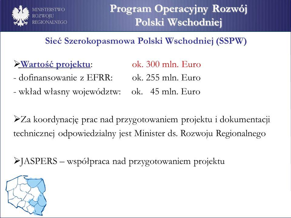 Sieć Szerokopasmowa Polski Wschodniej (SSPW) Wartość projektu: ok.