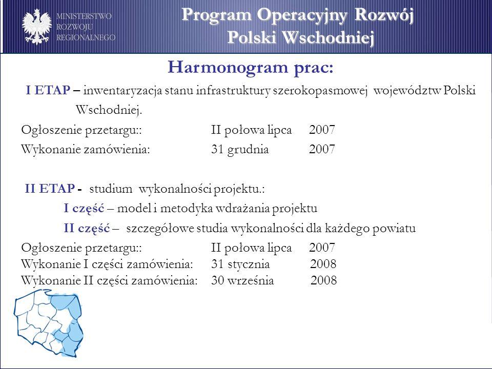 Harmonogram prac: I ETAP – inwentaryzacja stanu infrastruktury szerokopasmowej województw Polski Wschodniej.
