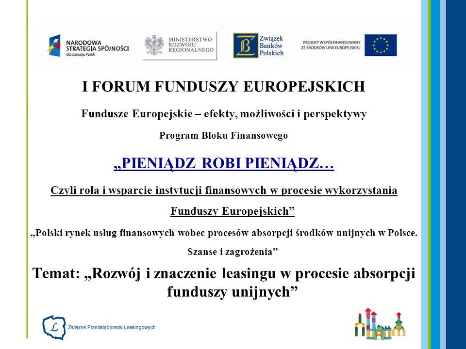 Fundusze Europejskie Leasing jako koszt kwalifikowalny i produkt finansowy Andrzej Sugajski Dyrektor Generalny Związku Przedsiębiorstw Leasingowych 7 maja 2008