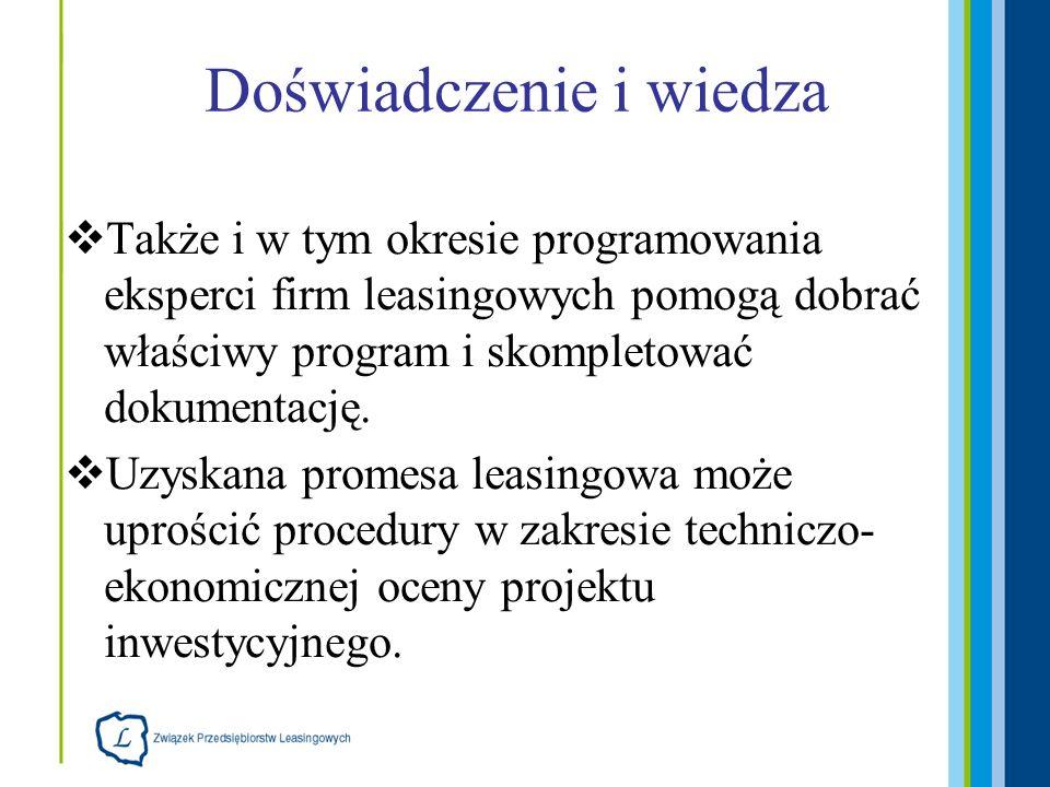 Doświadczenie i wiedza Także i w tym okresie programowania eksperci firm leasingowych pomogą dobrać właściwy program i skompletować dokumentację. Uzys