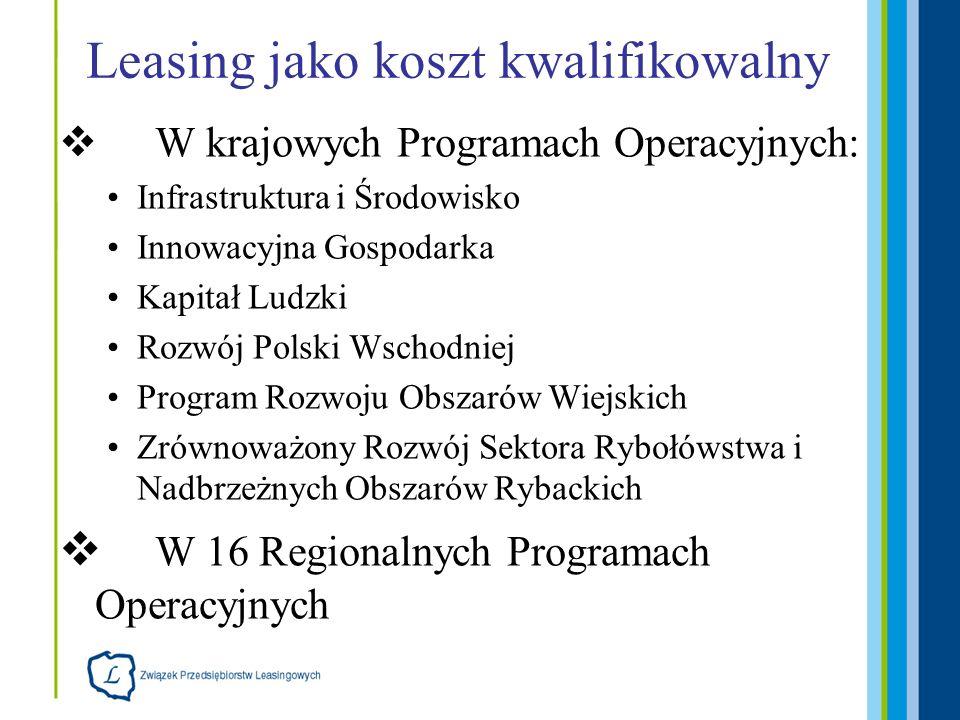 Leasing jako koszt kwalifikowalny W krajowych Programach Operacyjnych: Infrastruktura i Środowisko Innowacyjna Gospodarka Kapitał Ludzki Rozwój Polski