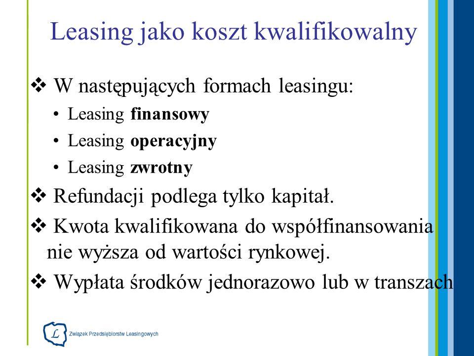Leasing jako koszt kwalifikowalny W następujących formach leasingu: Leasing finansowy Leasing operacyjny Leasing zwrotny Refundacji podlega tylko kapitał.
