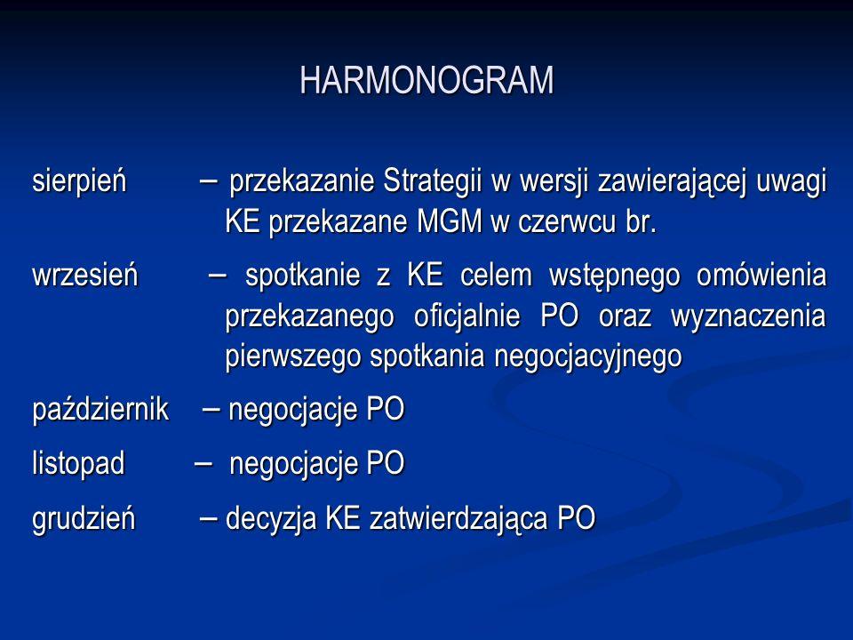HARMONOGRAM sierpień – przekazanie Strategii w wersji zawierającej uwagi KE przekazane MGM w czerwcu br. wrzesień – spotkanie z KE celem wstępnego omó