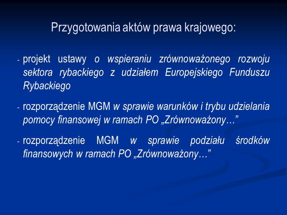 Przygotowania aktów prawa krajowego: - - projekt ustawy o wspieraniu zrównoważonego rozwoju sektora rybackiego z udziałem Europejskiego Funduszu Rybackiego - - rozporządzenie MGM w sprawie warunków i trybu udzielania pomocy finansowej w ramach PO Zrównoważony… - - rozporządzenie MGM w sprawie podziału środków finansowych w ramach PO Zrównoważony…