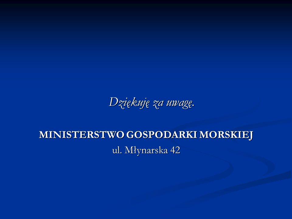 Dziękuję za uwagę. MINISTERSTWO GOSPODARKI MORSKIEJ ul. Młynarska 42
