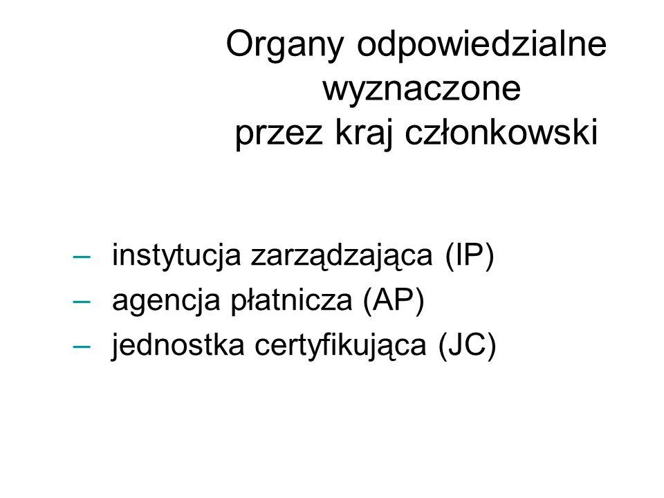 –instytucja zarządzająca (IP) –agencja płatnicza (AP) –jednostka certyfikująca (JC) Organy odpowiedzialne wyznaczone przez kraj członkowski
