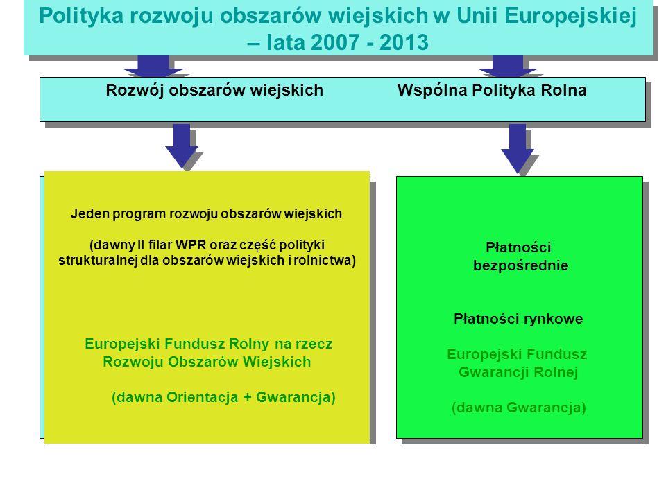 Polityka rozwoju obszarów wiejskich w Unii Europejskiej – lata 2007 - 2013 Płatności bezpośrednie Płatności rynkowe Europejski Fundusz Gwarancji Rolnej (dawna Gwarancja) Płatności bezpośrednie Płatności rynkowe Europejski Fundusz Gwarancji Rolnej (dawna Gwarancja) Rozwój obszarów wiejskich Wspólna Polityka Rolna Jeden program rozwoju obszarów wiejskich (dawny II filar WPR oraz część polityki strukturalnej dla obszarów wiejskich i rolnictwa) Europejski Fundusz Rolny na rzecz Rozwoju Obszarów Wiejskich (dawna Orientacja + Gwarancja)