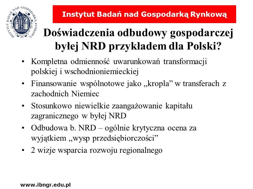 Instytut Badań nad Gospodarką Rynkową www.ibngr.edu.pl Doświadczenia odbudowy gospodarczej byłej NRD przykładem dla Polski? Kompletna odmienność uwaru