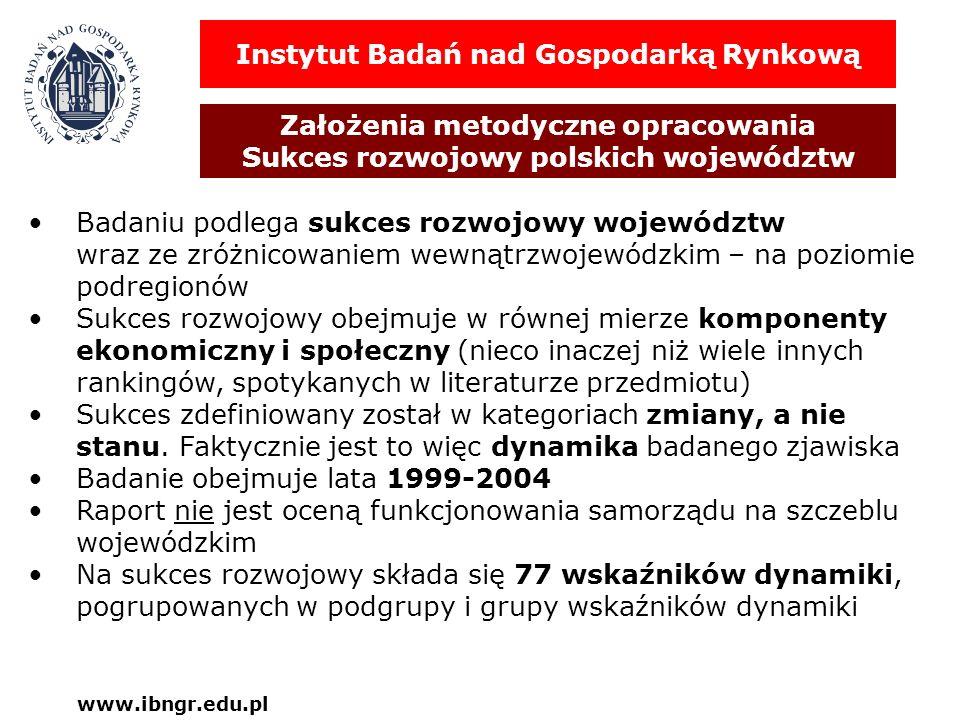 Instytut Badań nad Gospodarką Rynkową Założenia metodyczne opracowania Sukces rozwojowy polskich województw www.ibngr.edu.pl Badaniu podlega sukces ro