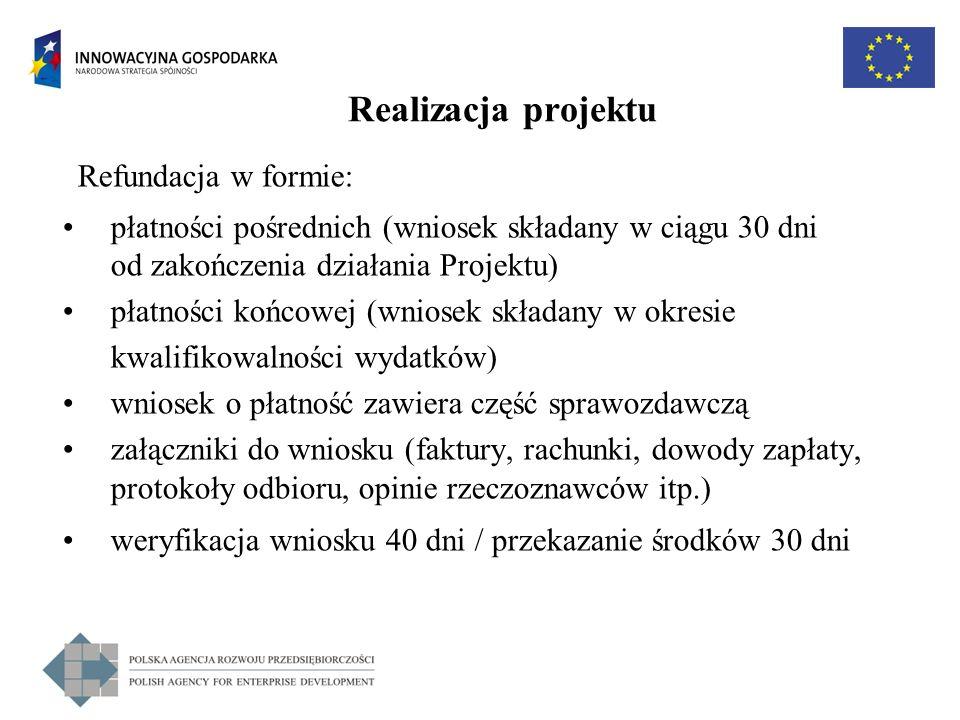 Realizacja projektu Refundacja w formie: płatności pośrednich (wniosek składany w ciągu 30 dni od zakończenia działania Projektu) płatności końcowej (