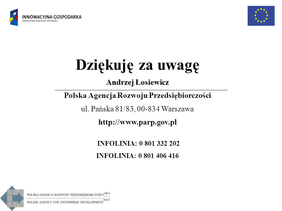 Dziękuję za uwagę Andrzej Łosiewicz Polska Agencja Rozwoju Przedsiębiorczości ul. Pańska 81/83, 00-834 Warszawa http://www.parp.gov.pl INFOLINIA: 0 80