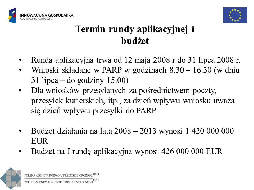 Termin rundy aplikacyjnej i budżet Runda aplikacyjna trwa od 12 maja 2008 r do 31 lipca 2008 r. Wnioski składane w PARP w godzinach 8.30 – 16.30 (w dn