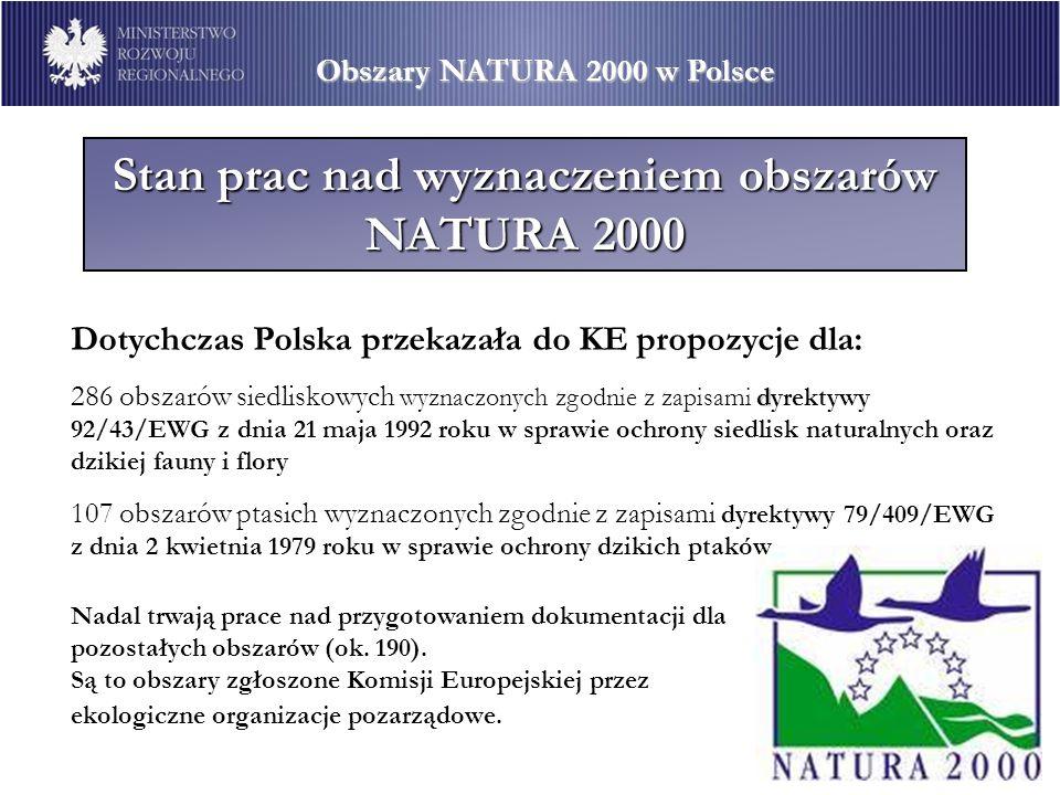 Stan prac nad wyznaczeniem obszarów NATURA 2000 Dotychczas Polska przekazała do KE propozycje dla: d 286 obszarów siedliskowych wyznaczonych zgodnie z