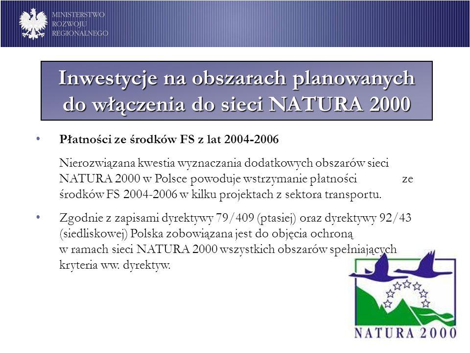 Inwestycje na obszarach planowanych do włączenia do sieci NATURA 2000 Płatności ze środków FS z lat 2004-2006 Nierozwiązana kwestia wyznaczania dodatk