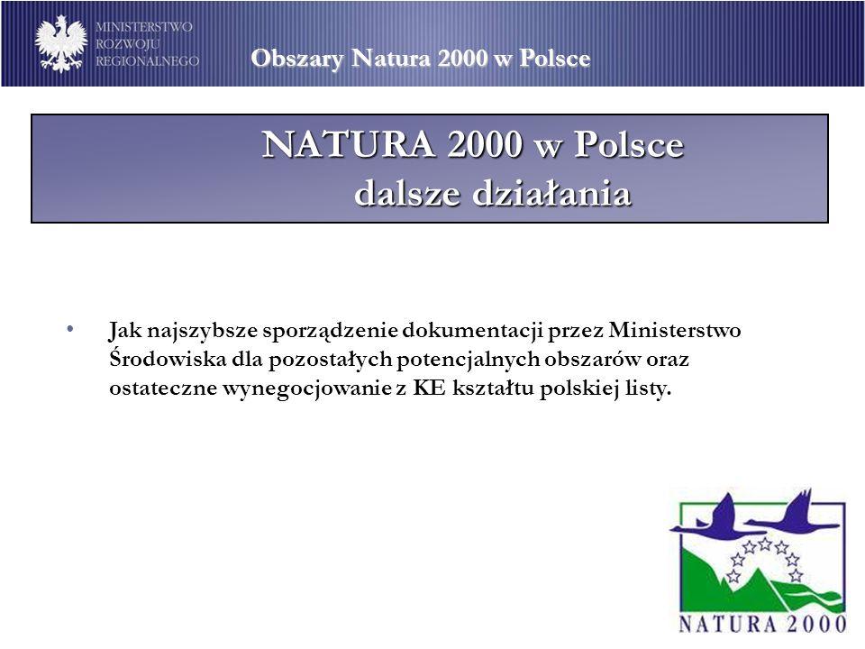 Obszary Natura 2000 w Polsce NATURA 2000 w Polsce dalsze działania Jak najszybsze sporządzenie dokumentacji przez Ministerstwo Środowiska dla pozostał