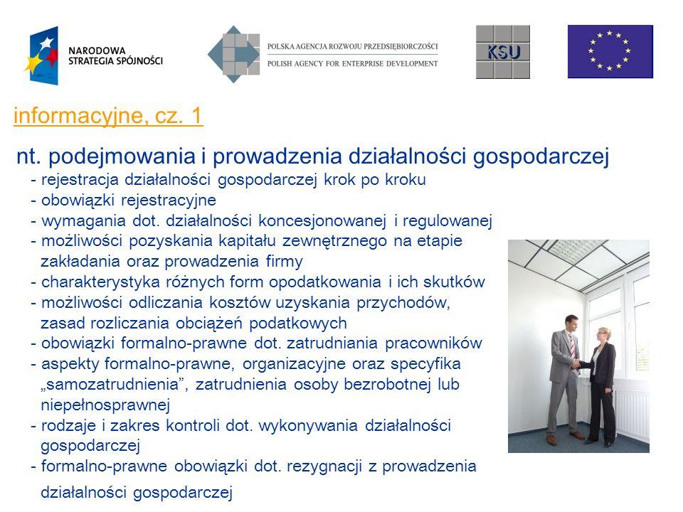 informacyjne, cz. 1 nt. podejmowania i prowadzenia działalności gospodarczej - rejestracja działalności gospodarczej krok po kroku - obowiązki rejestr
