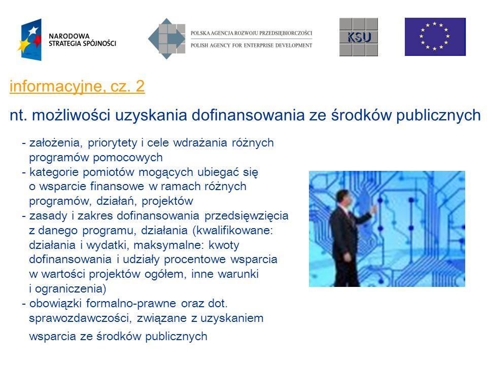 informacyjne, cz. 2 nt. możliwości uzyskania dofinansowania ze środków publicznych - założenia, priorytety i cele wdrażania różnych programów pomocowy