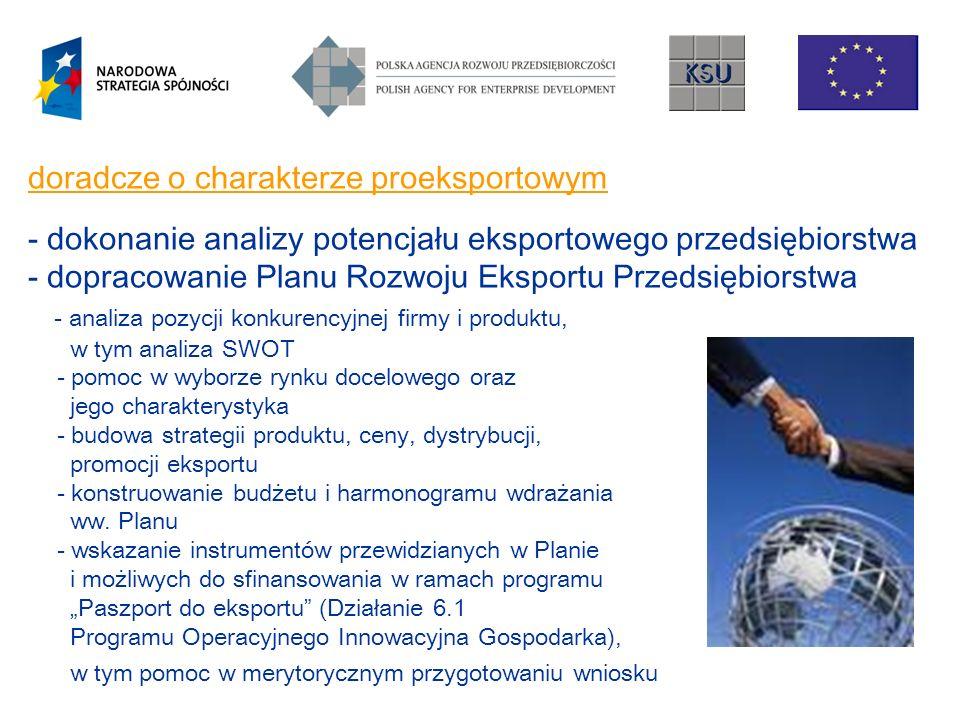 doradcze o charakterze proeksportowym - dokonanie analizy potencjału eksportowego przedsiębiorstwa - dopracowanie Planu Rozwoju Eksportu Przedsiębiorstwa - analiza pozycji konkurencyjnej firmy i produktu, w tym analiza SWOT - pomoc w wyborze rynku docelowego oraz jego charakterystyka - budowa strategii produktu, ceny, dystrybucji, promocji eksportu - konstruowanie budżetu i harmonogramu wdrażania ww.