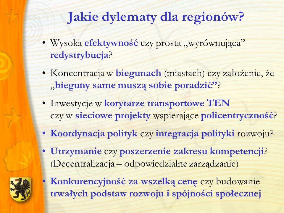 Utrwalenie / wzmocnienie pozycji polityki spójności Zachowanie ostrożności w radykalnej zmianie orientacji polityki spójności Przeciwdziałanie re-nacjonalizacji polityki spójności Wzmocnienie wymiaru terytorialnego ( TEN, NATURA, miejska strategia tematyczna ) Wejście na BAŁTYCKĄ ścieżkę rozwoju jako dojrzała alternatywa wobec Unii Śródziemnomorskiej Wykorzystanie szansy granicy zewnętrznej (europejska misja RP) Jakie interesy regionalne?