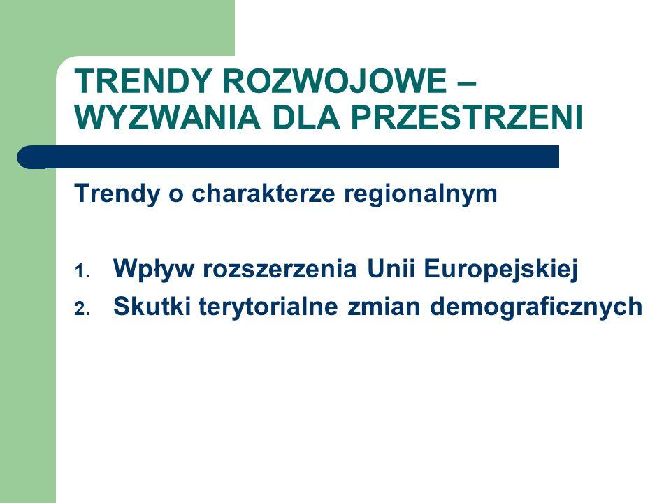 TRENDY ROZWOJOWE – WYZWANIA DLA PRZESTRZENI Trendy o charakterze regionalnym 1. Wpływ rozszerzenia Unii Europejskiej 2. Skutki terytorialne zmian demo