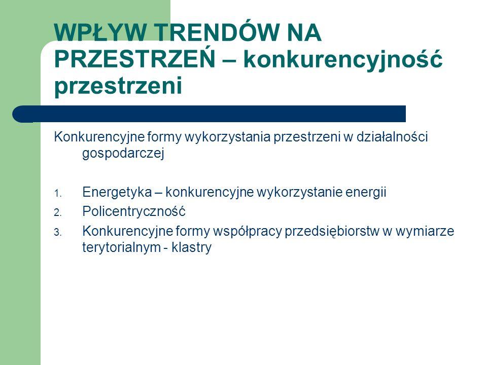 WPŁYW TRENDÓW NA PRZESTRZEŃ – konkurencyjność przestrzeni Konkurencyjne formy wykorzystania przestrzeni w działalności gospodarczej 1. Energetyka – ko